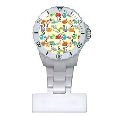 Group Of Funny Dinosaurs Graphic Plastic Nurses Watch
