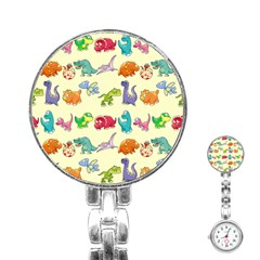 Group Of Funny Dinosaurs Graphic Stainless Steel Nurses Watch