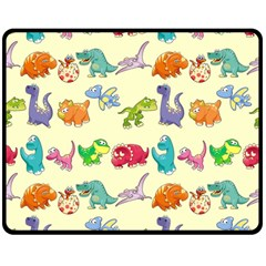 Group Of Funny Dinosaurs Graphic Double Sided Fleece Blanket (Medium)