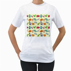 Group Of Funny Dinosaurs Graphic Women s T-Shirt (White)