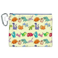 Group Of Funny Dinosaurs Graphic Canvas Cosmetic Bag (XL)