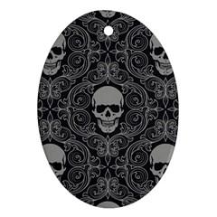 Dark Horror Skulls Pattern Ornament (Oval)