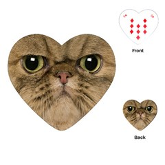 Cute Persian Catface In Closeup Playing Cards (Heart)