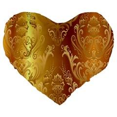 Golden Pattern Vintage Gradient Vector Large 19  Premium Heart Shape Cushions