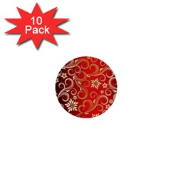 Golden Swirls Floral Pattern 1  Mini Buttons (10 pack)