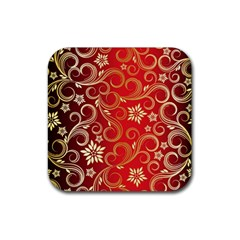 Golden Swirls Floral Pattern Rubber Coaster (Square)
