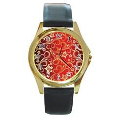 Golden Swirls Floral Pattern Round Gold Metal Watch