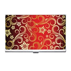 Golden Swirls Floral Pattern Business Card Holders