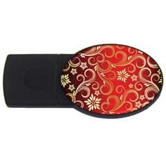 Golden Swirls Floral Pattern USB Flash Drive Oval (1 GB)