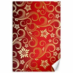 Golden Swirls Floral Pattern Canvas 12  x 18