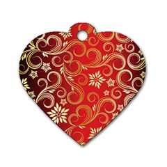 Golden Swirls Floral Pattern Dog Tag Heart (Two Sides)