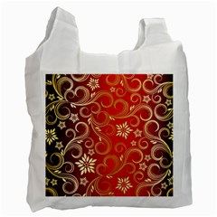 Golden Swirls Floral Pattern Recycle Bag (Two Side)