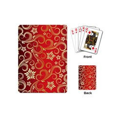 Golden Swirls Floral Pattern Playing Cards (Mini)
