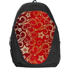 Golden Swirls Floral Pattern Backpack Bag