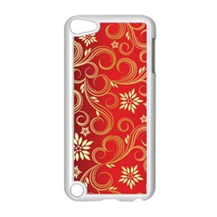 Golden Swirls Floral Pattern Apple iPod Touch 5 Case (White)