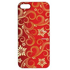 Golden Swirls Floral Pattern Apple iPhone 5 Hardshell Case with Stand
