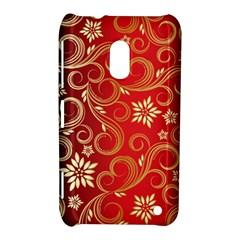 Golden Swirls Floral Pattern Nokia Lumia 620