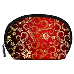 Golden Swirls Floral Pattern Accessory Pouches (Large)