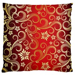 Golden Swirls Floral Pattern Large Flano Cushion Case (One Side)