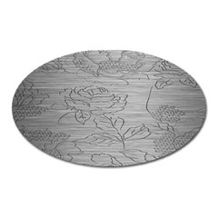 Embossed Rose Pattern Oval Magnet