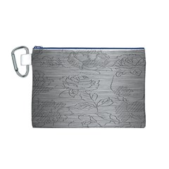 Embossed Rose Pattern Canvas Cosmetic Bag (M)