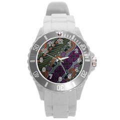 Batik Art Pattern  Round Plastic Sport Watch (L)