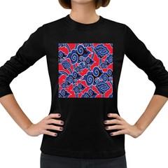Batik Background Vector Women s Long Sleeve Dark T-Shirts
