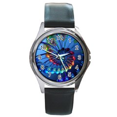 Top Peacock Feathers Round Metal Watch