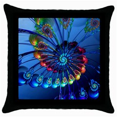 Top Peacock Feathers Throw Pillow Case (Black)
