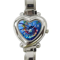 Top Peacock Feathers Heart Italian Charm Watch