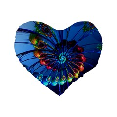 Top Peacock Feathers Standard 16  Premium Flano Heart Shape Cushions