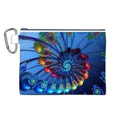 Top Peacock Feathers Canvas Cosmetic Bag (L)