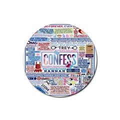 Book Collage Based On Confess Rubber Coaster (Round)