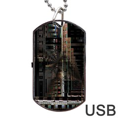Black technology Circuit Board Electronic Computer Dog Tag USB Flash (One Side)