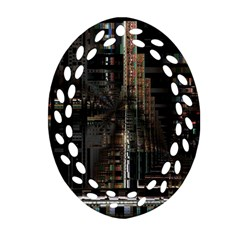 Black technology Circuit Board Electronic Computer Oval Filigree Ornament (Two Sides)