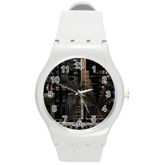 Black technology Circuit Board Electronic Computer Round Plastic Sport Watch (M)