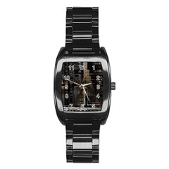 Black technology Circuit Board Electronic Computer Stainless Steel Barrel Watch
