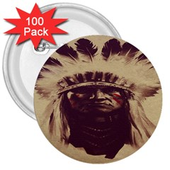 Indian Apache 3  Buttons (100 pack)