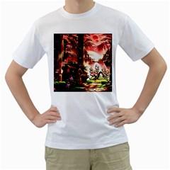 Fantasy Art Story Lodge Girl Rabbits Flowers Men s T-Shirt (White) (Two Sided)