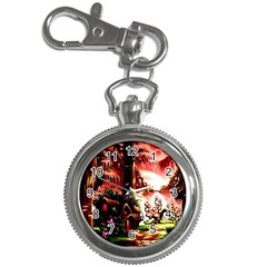Fantasy Art Story Lodge Girl Rabbits Flowers Key Chain Watches
