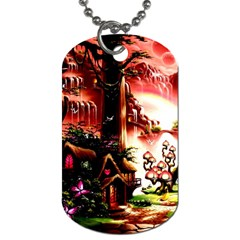 Fantasy Art Story Lodge Girl Rabbits Flowers Dog Tag (Two Sides)