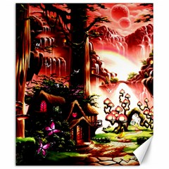Fantasy Art Story Lodge Girl Rabbits Flowers Canvas 20  x 24