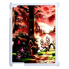 Fantasy Art Story Lodge Girl Rabbits Flowers Apple iPad 2 Case (White)