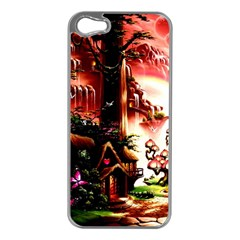 Fantasy Art Story Lodge Girl Rabbits Flowers Apple iPhone 5 Case (Silver)