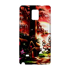Fantasy Art Story Lodge Girl Rabbits Flowers Samsung Galaxy Note 4 Hardshell Case