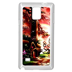 Fantasy Art Story Lodge Girl Rabbits Flowers Samsung Galaxy Note 4 Case (White)