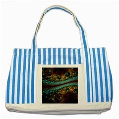 Fractal Snake Skin Striped Blue Tote Bag