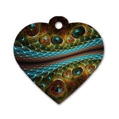 Fractal Snake Skin Dog Tag Heart (One Side)