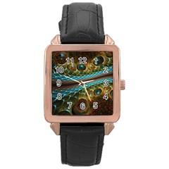 Fractal Snake Skin Rose Gold Leather Watch