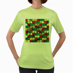 Snakes And Ladders Women s Green T-Shirt
